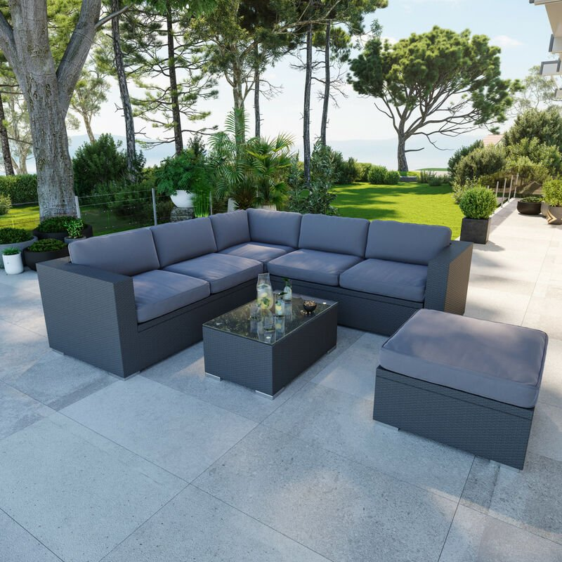 Salon de jardin en résine tressée fonctionnel avec coffres de rangement intégrés - noir gris - FARENZA - Gris