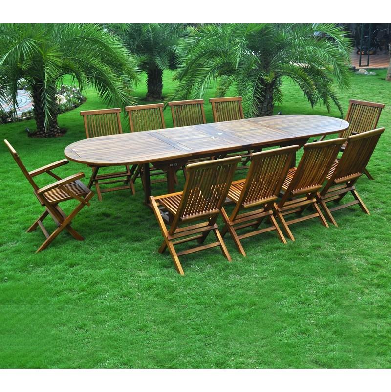 Ensemble salon de jardin en teck huilé 10-12 places - table ovale