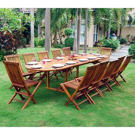 Ensemble salon de jardin en teck huilé 10-12 places - table ovale - 649