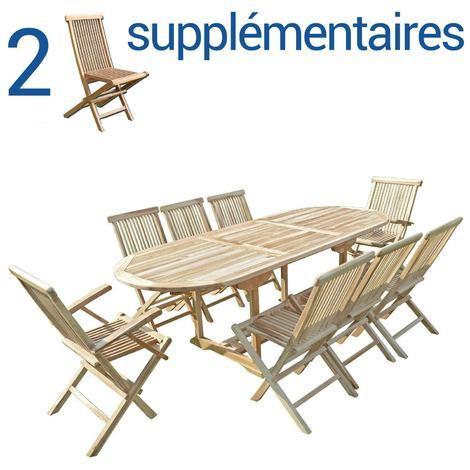 Ensemble salon de jardin en teck MAHUI 6+2 chaises 2 fauteuils - Bundle  chaises