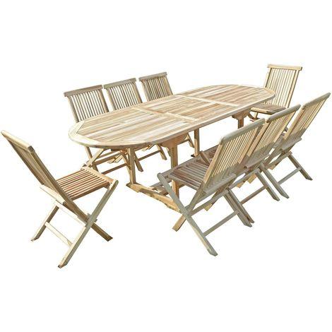 Ensemble salon de jardin en teck MAHUI 8 chaises