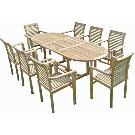 Ensemble salon de jardin en teck MAHUI 8 fauteuils empilables