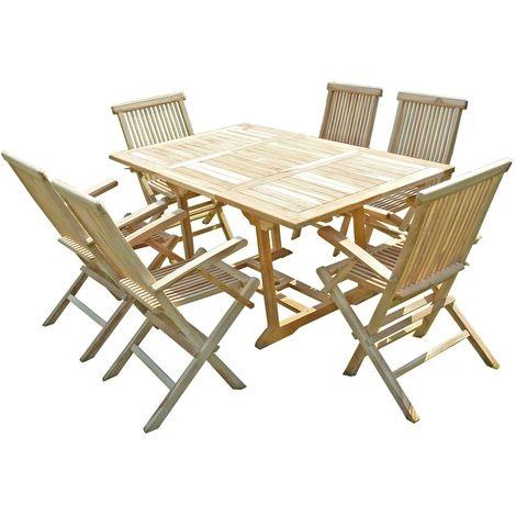 Ensemble salon de jardin en teck SERANG 6 fauteuils pliants ...
