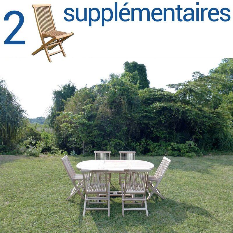 Ensemble salon de jardin en teck SOLO 6 chaises + Bundle 2 chaises