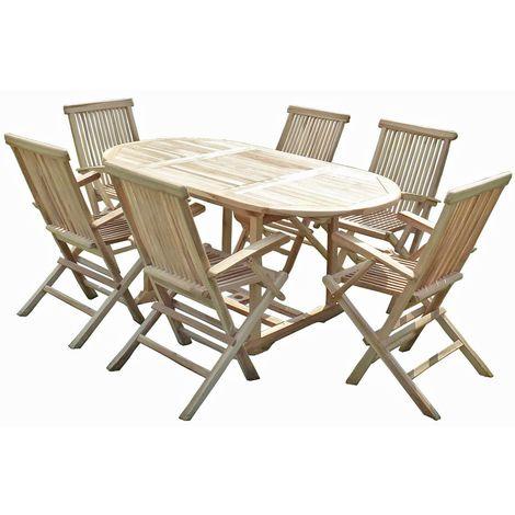 Ensemble salon de jardin en teck SOLO 6 fauteuils pliants - MJEEJSOLSF06