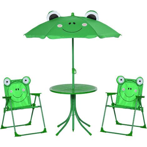 Ensemble salon de jardin enfant 4 pcs design grenouille - table ronde + 2 chaises pliables + parasol - métal époxy oxford vert