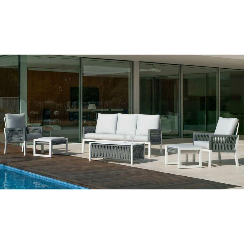 Hevea - Salon de jardin Sofa HAVANA-10 Finition BLANC/CORDAGE GRIS Tissus ANAIS BLANC DRALON de 4 à 8 places