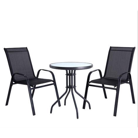 Ensemble Salon de Jardin Table et 2 Chaises 2 Personnes Table Bistrot Ronde en Verre Trempé pour Piscine Terrasse - Noir-transparent