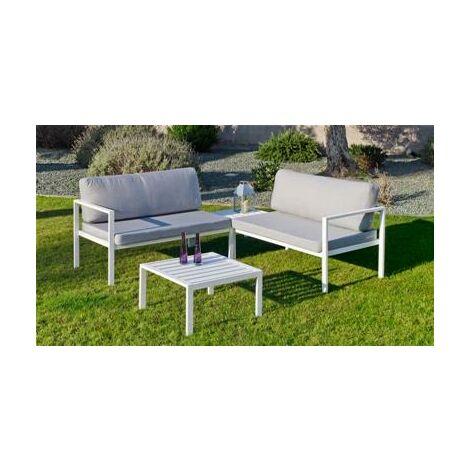 Ensemble Salon Sofa De Jardin ANDGELINA CC2 en ALUMINIUM BLANC Coussins  couleur GRIS CLAIR