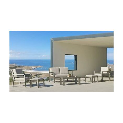 Ensemble Salon Sofa De Jardin AZENORA 7+2 en ALUMINIUM CHAMPAGNE Coussins couleur BEIGE