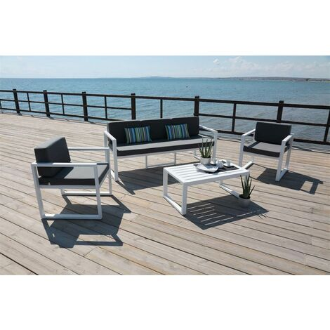 Ensemble Salon Sofa De Jardin MUNIC 8 en ALUMINIUM BLANC Coussins couleur GRIS FONCE