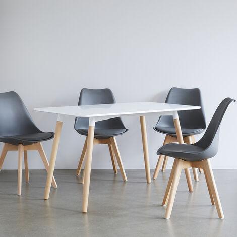 Ensemble scandinave table blanche et 4 chaises grises