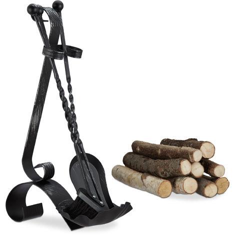 Ensemble serviteur de cheminée 4 pièces accessoire acier balai tisonnier pelle, noir