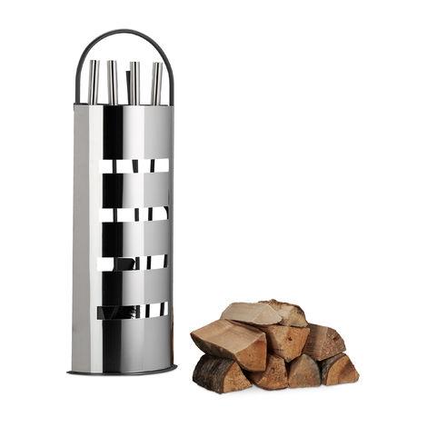 Ensemble serviteur de cheminée 5 pièces support pelle balai pince crochet acier inox moderne, gris argent