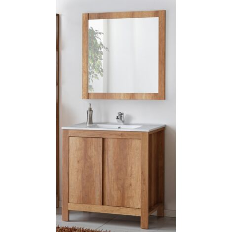 Ensemble sous vasque + vasque + miroir - Bois - 60 cm - Classic Oak - Livraison gratuite