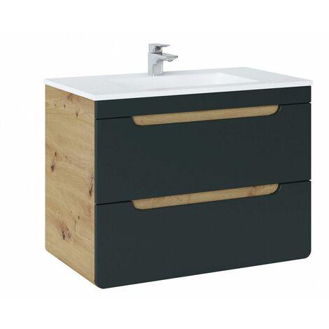 Ensemble sous-vasque + vasque - Noir - 80 cm - Aruba Cosmos - Livraison gratuite
