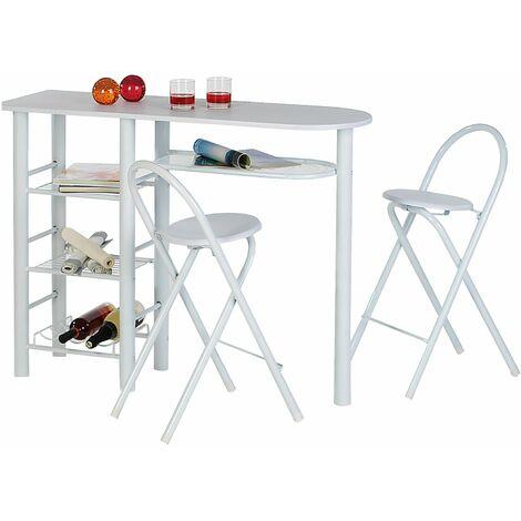 Ensemble STYLE avec table haute de bar mange-debout comptoir et 2 chaises/tabourets, en MDF blanc mat et structure en métal blanc