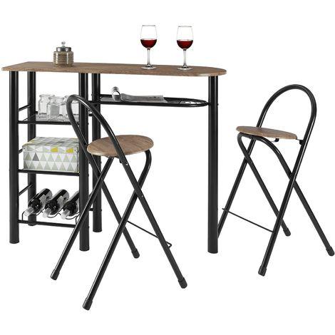 Ensemble STYLE avec table haute de bar mange-debout comptoir et 2 chaises/tabourets, en MDF chêne sauvage et structure en métal noir