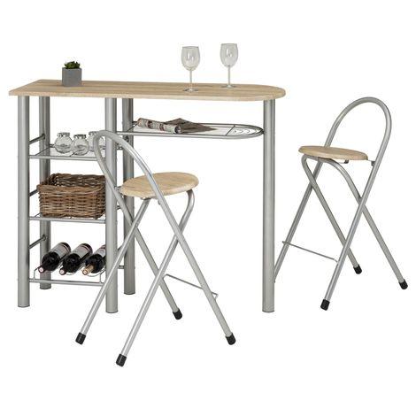 Ensemble STYLE avec table haute de bar mange-debout comptoir et 2 chaises/tabourets, en MDF chêne sonoma et structure en métal