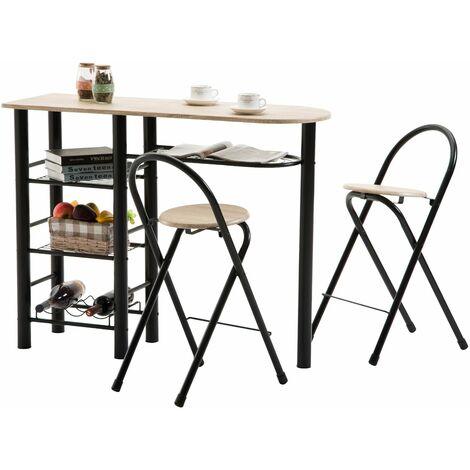 Ensemble STYLE avec table haute de bar mange-debout comptoir et 2 chaises/tabourets, en MDF chêne sonoma et structure en métal noir