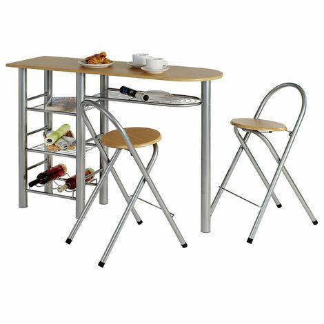 Ensemble STYLE avec table haute de bar mange-debout comptoir et 2 chaises/tabourets, en MDF couleur hêtre et structure en métal