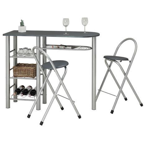 Ensemble STYLE avec table haute de bar mange-debout comptoir et 2 chaises/tabourets, en MDF gris mat et structure en métal