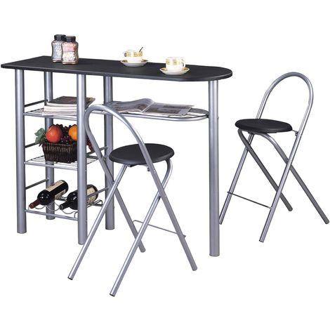 Ensemble STYLE avec table haute de bar mange-debout comptoir et 2 chaises/tabourets, en MDF noir mat et structure en métal