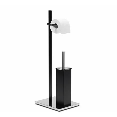 Ensemble support brosse WC porte-papier toilettes luxe inox noir - Noir
