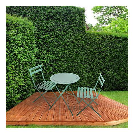 Ensemble table + 2 chaises de jardin en métal vert clair - YUTAN