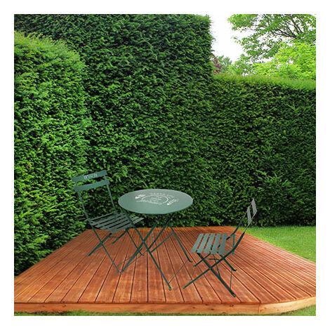 Ensemble table + 2 chaises de jardin en métal vert - YUTAN