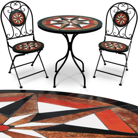 Ensemble Table 2 chaises mosaïque - Jardin Salon Terrasse - Ambiance ...