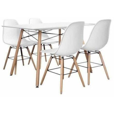 Ensemble table a manger 4 a 6 personnes LONDON + 4 chaises scandinaves ARGUS V1 - Blanc mat - L 120 x l 80 et L 51,5 x P 46 cm