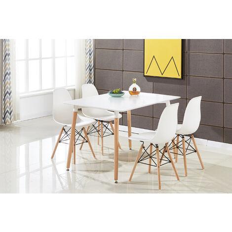 Ensemble Table à Manger Blanche + 4 Chaises Blanches - Style Scandinave - Salle à Manger ou Cuisine