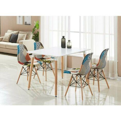 Ensemble Table à Manger Blanche + 4 Chaises en Tissu Patchwork - Design Scandinave