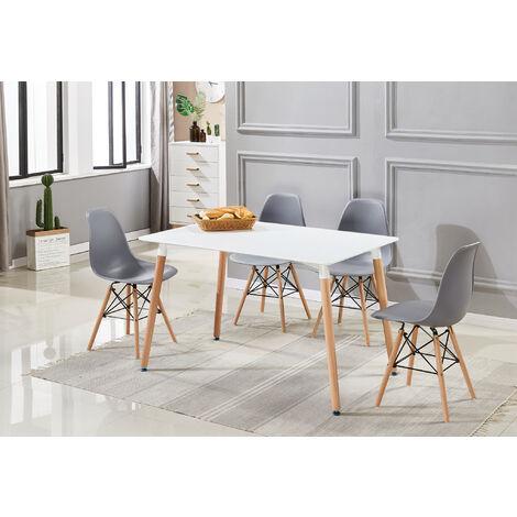 Ensemble Table à Manger Blanche + 4 Chaises Grises - Style Scandinave - Salle à Manger ou Cuisine
