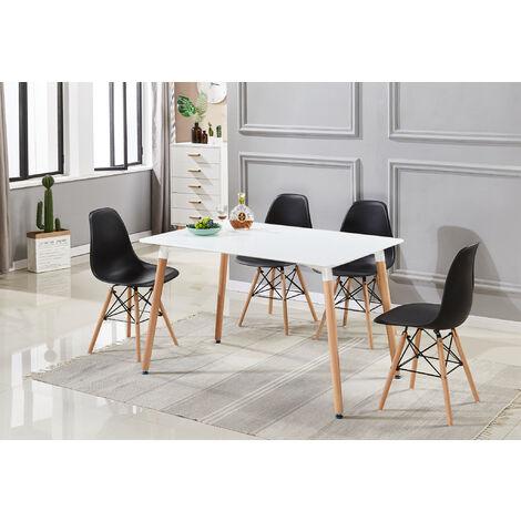Ensemble Table à Manger Blanche + 4 Chaises Noires - Style Scandinave - Salle à Manger ou Cuisine