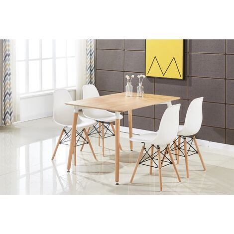 Ensemble Table à Manger Effet Chêne + 4 Chaises Blanches - Style Scandinave - Salle à Manger ou Cuisine
