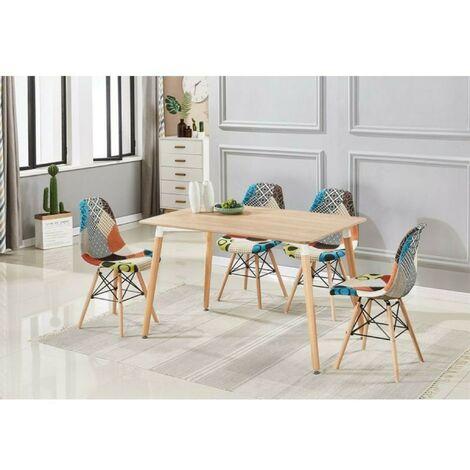 Ensemble Table à Manger Effet Chêne + 4 Chaises en Tissu Patchwork - Design Scandinave
