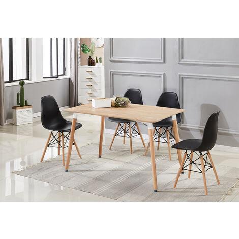 Ensemble Table à Manger Effet Chêne + 4 Chaises Noires - Style Scandinave - Salle à Manger ou Cuisine