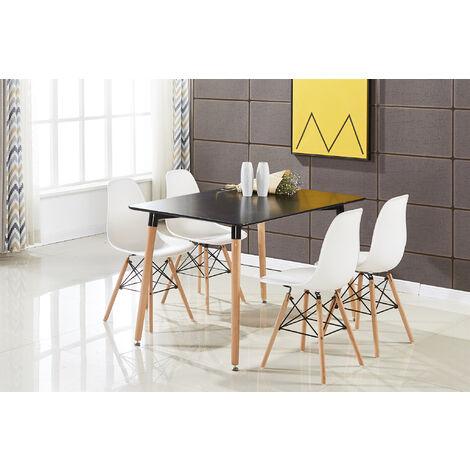 Ensemble Table à Manger Noire + 4 Chaises Blanches - Style Scandinave - Salle à Manger ou Cuisine