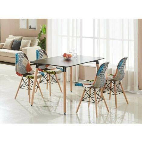 Ensemble Table à Manger Noire + 4 Chaises en Tissu Patchwork - Design Scandinave