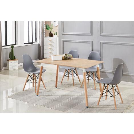 Ensemble Table à Manger Noire + 4 Chaises Grises - Style Scandinave - Salle à Manger ou Cuisine