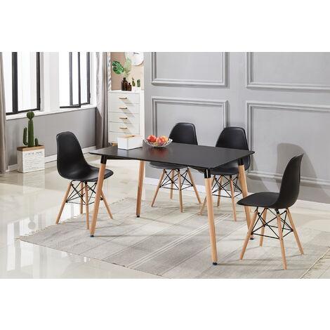 Ensemble Table à Manger Noire + 4 Chaises Noires - Style Scandinave - Salle à Manger ou Cuisine