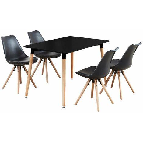 Ensemble Table à Manger Noire + 4 Chaises Scandinaves Noires - Sophie Halo