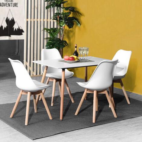 Ensemble table à manger rectangulaire 110*70 et 4 chaises scandinave bois blanc