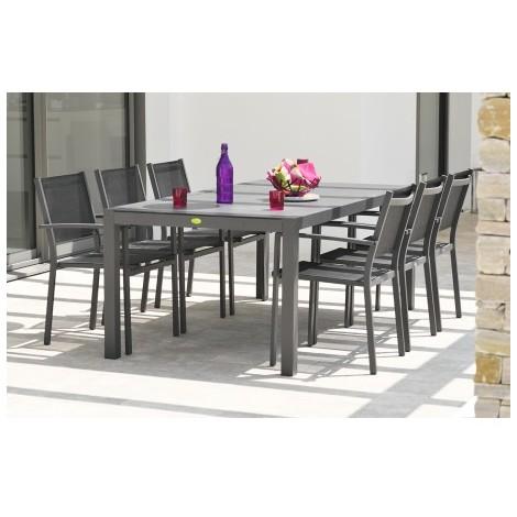 Ensemble table aluminium et duranite noir et 6 fauteuils assortis ...