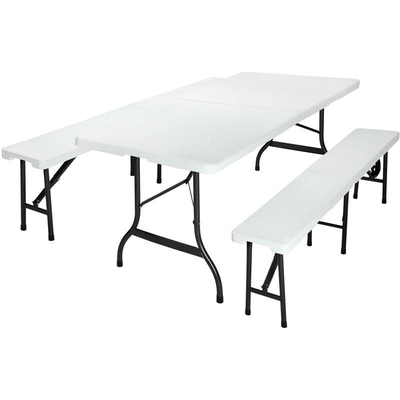 Ensemble Table bancs 3 pièces camping pliable 180cm - table buffet banc jardin