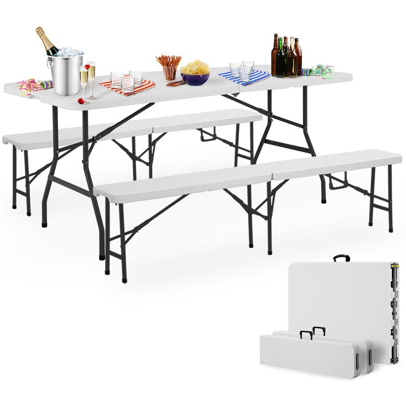 Ensemble Table Bancs Camping Pliable Table Buffet Banc Pliant