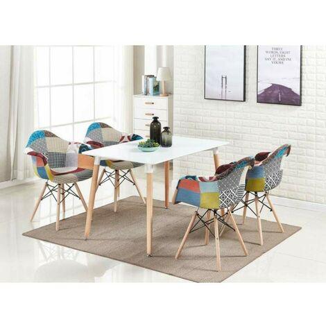 Ensemble Table Blanche + 4 Chaises avec Accoudoirs en Tissu Patchwork - Design Scandinave