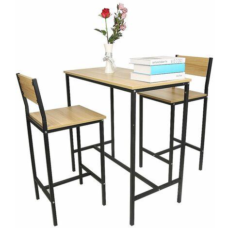 Ensemble table de bar + 2 chaises, Set de 1 Table + 2 Chaises, Table haute cuisine - Chêne